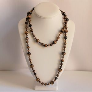 Intriguing Long Tiger's Eye Hand Knotted Necklace